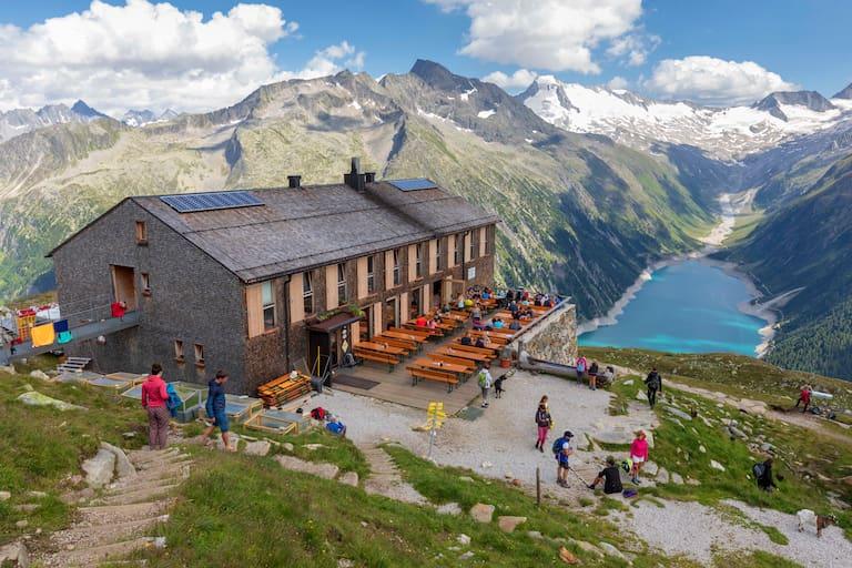 Die Olpererhütte in den Zillertaler Alpen
