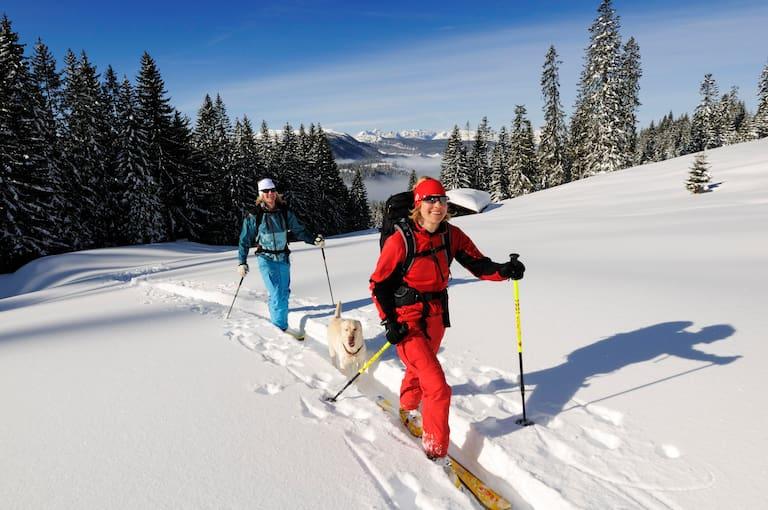 Skitourengeher am Dürrnbachhorn (1.776 m) in den Chiemgauer Alpen an der Grenze von Salzburg und Bayern