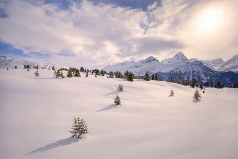 Unberührte Natur und feinste Winterlandschaft in den Albula Alpen, Graubünden