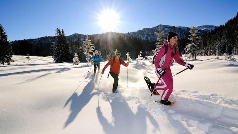 Schneeschuhwanderer bei Reit im Winkl im bayerischen Chiemgau