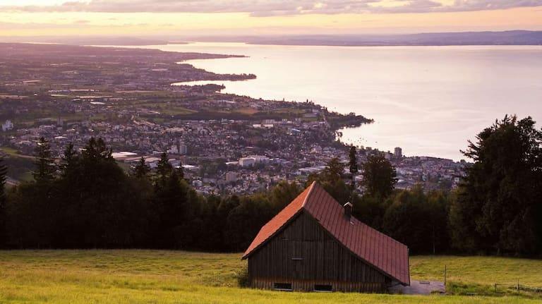 Blick auf Rorschach und den Bodensee in St. Gallen