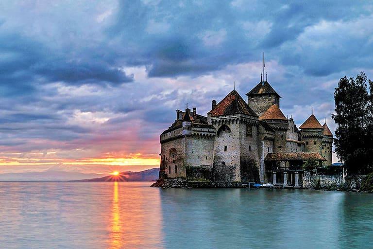 Schloss Chillon am Genfersee bei Montreux im Kanton Waadt