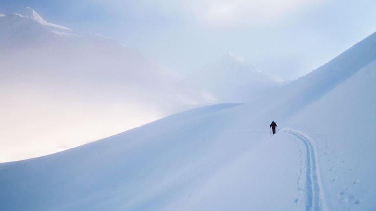 Wintersport: Skitourengeher im freien Gelände
