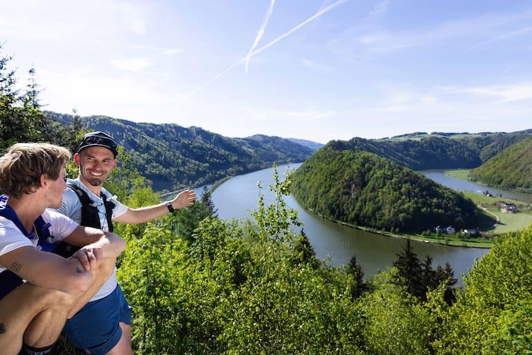 Großartige Aussichtsplätze, wie hier jener oberhalb der Donauschlinge Schlögen, sind einer von vielen Gründen fürs Trailrunning am Donausteig