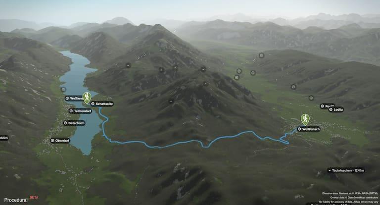 3D-Kartenausschnitt der Wasserwanderung Weißbriach-Kreuzberg-Weißensee