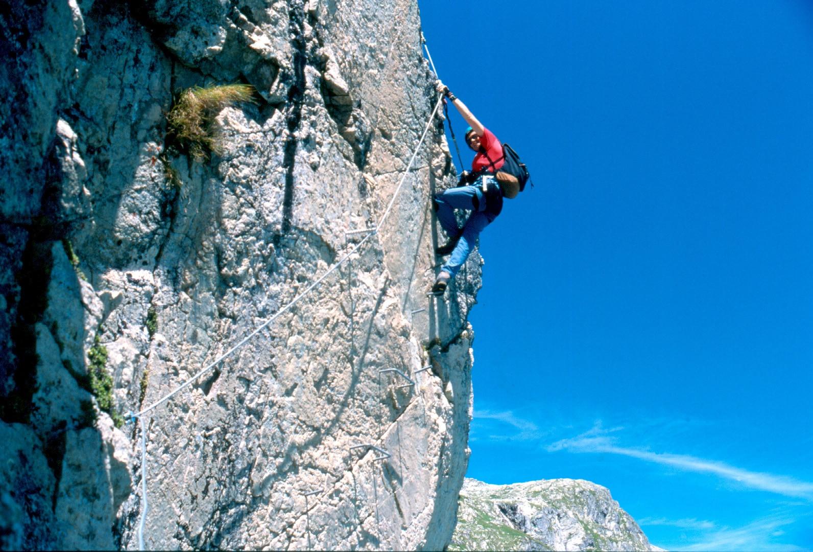 Klettersteig Fall : Protection on a klettersteig via ferrata u mountaineering