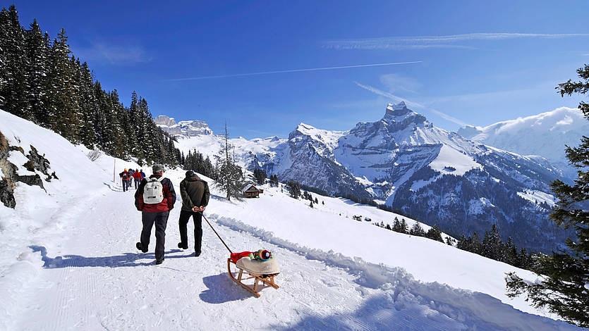 Klettersteig Brunni : Winterwandern panoramaweg ristis rigidalalp brunnihütte km